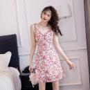 Dress Summer 2021 Decor S,M,L,XL Short skirt singleton  Sleeveless Sweet V-neck High waist Decor zipper A-line skirt camisole Type A Frenulum Mori