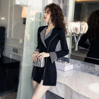 Dress Winter of 2019 black S,M,L,XL,XXL Short skirt Two piece set Long sleeves commute V-neck High waist Solid color zipper A-line skirt pagoda sleeve Others Type A Other / other Korean version Inlay drill, splice