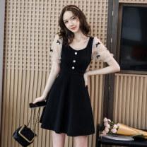 Dress Summer 2021 black S,M,L,XL,2XL Short skirt singleton  Short sleeve commute square neck High waist Solid color zipper A-line skirt puff sleeve Others Type A Retro Splicing