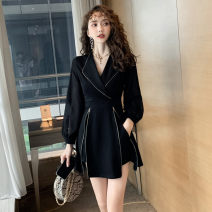 Dress Winter 2016 black S,M,L,XL,XXL Short skirt Two piece set Long sleeves commute V-neck High waist Solid color zipper A-line skirt Others 18-24 years old Type A Other / other Retro Panel, zipper