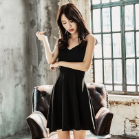 Dress Summer 2020 black S,M,L Short skirt singleton  Sleeveless commute V-neck High waist Solid color Socket A-line skirt other camisole Type A Korean version