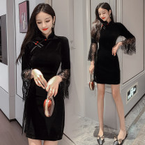 Dress Autumn of 2019 black S,M,L,XL,2XL Short skirt singleton  Nine point sleeve commute stand collar High waist Solid color zipper One pace skirt pagoda sleeve Others 18-24 years old Type A Retro Stitching, lace