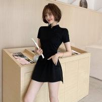 Dress Summer of 2019 black S,M,L,XL,XXL Short skirt Two piece set Short sleeve commute stand collar High waist Solid color zipper A-line skirt routine Others Type A Other / other Korean version Button, button