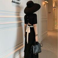 Dress Summer of 2019 black S,M,L,XL Mid length dress singleton  Short sleeve commute square neck High waist Solid color routine Others Korean version