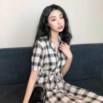 Dress Summer 2020 lattice Average size longuette singleton  Short sleeve commute tailored collar High waist lattice Single breasted A-line skirt routine 18-24 years old Type A Ezrin Korean version Button, stitching, lace up N44Q0412C111L238B 71% (inclusive) - 80% (inclusive) other polyester fiber