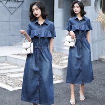 Dress Summer 2020 blue S,M,L,XL,2XL longuette singleton  Short sleeve commute Polo collar High waist Solid color Single breasted A-line skirt routine Others Korean version Ruffles, ruffles, pockets, bandages 31% (inclusive) - 50% (inclusive) Denim