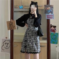 Women's large Spring 2021, summer 2021, autumn 2021 Black shawl, black sling, purple sling S [70-80 Jin], m [80-95 Jin], l [95-115 Jin], XL [115-135 Jin], 2XL [135-155 Jin], 3XL [155-175 Jin], 4XL [175-200 Jin] Dress Two piece set commute easy moderate Socket Short sleeve lattice Retro Polo collar