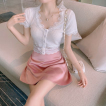 Dress Summer 2021 Lace short sleeve + pink skirt S,M,L Short skirt Two piece set Long sleeves commute One word collar High waist Solid color Socket A-line skirt Sleeve Others 25-29 years old Type A Korean version Print, stitching, lace up 31% (inclusive) - 50% (inclusive) other nylon
