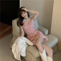 Dress Summer 2021 Pink S, M Middle-skirt singleton  Sleeveless Sweet V-neck High waist Broken flowers other camisole 18-24 years old Type A printing 0315g 30% and below other