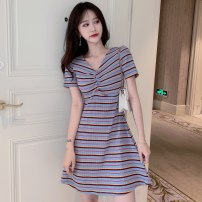 Dress Summer 2021 S,L,XL Middle-skirt singleton  Short sleeve commute V-neck High waist stripe Socket A-line skirt routine Others 18-24 years old Type A Korean version Splicing 0324g 71% (inclusive) - 80% (inclusive) knitting