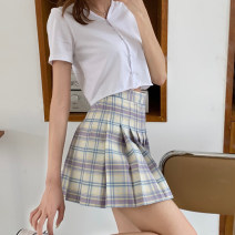 skirt Spring 2021 S, M Purple, blue Short skirt Versatile High waist Pleated skirt lattice Type A 18-24 years old 0315g