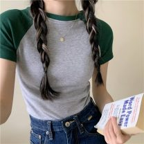 T-shirt Green, blue, black Average size Summer 2021 Short sleeve Crew neck Self cultivation Regular raglan sleeve commute cotton 86% (inclusive) -95% (inclusive) 18-24 years old Korean version Solid color 0315g