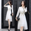 Dress Autumn of 2019 M,L,XL,2XL Middle-skirt Fake two pieces Nine point sleeve commute tailored collar middle-waisted Solid color double-breasted A-line skirt routine Others 35-39 years old Type A Bestbao / bestbao Ol style 71% (inclusive) - 80% (inclusive) other polyester fiber