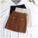 skirt Summer of 2018 S M L Brown Black apricot Short skirt commute High waist A-line skirt Solid color Type A 18-24 years old 0510205 31% (inclusive) - 50% (inclusive) other other Korean version