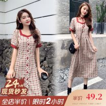 Nursing clothes M,L,XL,2XL,3XL,4XL Other / other Socket summer Short sleeve Medium length Korean version Dress lattice Side opening Chiffon