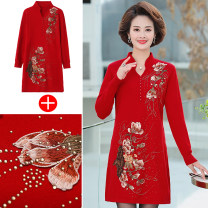 Middle aged and old women's wear Autumn 2020 Red, black M,L,XL,XXL,XXXL,4XL,5XL fashion Dress easy singleton  Flower and bird pattern 40-49 years old Socket moderate V-neck Medium length routine Monroembes Embroidery Medium length skirt