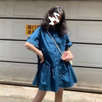 Women's large Summer 2021 blue Large L, large XL, s, m, 2XL, 3XL, 4XL Dress singleton  Sweet easy moderate Socket Short sleeve Solid color V-neck other fold puff sleeve Yijinyu Button 30% and below Middle-skirt other Lotus leaf edge college