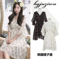 Dress Summer of 2018 S,M,L,XL Middle-skirt singleton  Short sleeve commute V-neck middle-waisted Decor Socket Big swing Petal sleeve Others 18-24 years old Type A Other / other Korean version Zipper, print 81% (inclusive) - 90% (inclusive) Chiffon polyester fiber