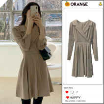 Dress Spring 2021 Khaki, black S,M,L,XL Short skirt singleton  Long sleeves commute tailored collar High waist Solid color zipper A-line skirt routine Others 18-24 years old Type A Korean version Bowknot, lace up, stitching, bandage, zipper 81% (inclusive) - 90% (inclusive) other polyester fiber