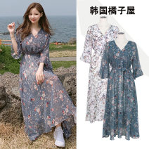 Dress Summer of 2019 White, blue S,M,L,XL Mid length dress singleton  three quarter sleeve commute V-neck High waist Decor Socket Big swing Lotus leaf sleeve Others 18-24 years old Type A Other / other Korean version Bowknot, ruffle, pleat, lace, bandage, printing JZW519 Chiffon polyester fiber