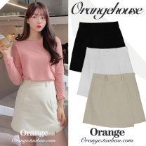 skirt Summer 2020 S,M,L,XL Khaki, white, black Short skirt commute High waist A-line skirt Solid color 18-24 years old cotton Korean version