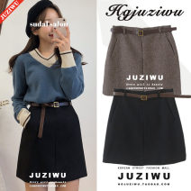 skirt Autumn of 2018 S,M,L,XL Brown, black Short skirt Versatile High waist A-line skirt Solid color Type A 18-24 years old Other / other Splicing