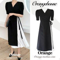 Dress Summer 2020 black S,M,L,XL longuette singleton  Short sleeve commute V-neck High waist Solid color A button Pleated skirt Horn sleeve Breast wrapping 25-29 years old Type A Korean version Bows, folds, lacing, stitching, strapping, buttons JZW1053