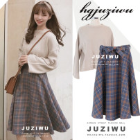 skirt Autumn of 2018 S,M,L,XL Blue checked skirt, black checked skirt, white sweater (one size), apricot sweater (one size) Mid length dress Sweet High waist A-line skirt lattice Type A 18-24 years old 31% (inclusive) - 50% (inclusive) other Other / other other Bowknot, lace, strap, zipper college