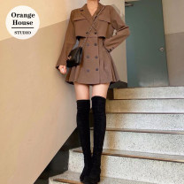 Dress Winter 2020 Camel, black S,M,L,XL Short skirt Long sleeves commute tailored collar High waist Solid color double-breasted A-line skirt other 18-24 years old Type A Korean version