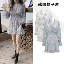 Dress Spring 2021 Light blue, white S,M,L,XL Short skirt singleton  Long sleeves commute V-neck High waist Decor Single breasted Ruffle Skirt routine Others 18-24 years old Type A Other / other Korean version Print, button JZW523 51% (inclusive) - 70% (inclusive) Chiffon