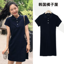 Dress Summer 2021 Navy Blue S,M,L,XL Short skirt singleton  Short sleeve Sweet Polo collar High waist Solid color Three buttons A-line skirt routine Others 18-24 years old Type A Other / other Lace up, thread, strap, button college