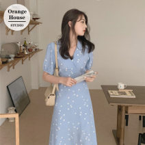 Dress Summer 2020 Light blue, Navy S,M,L,XL Mid length dress singleton  Short sleeve commute V-neck High waist Decor zipper A-line skirt puff sleeve Others 18-24 years old Type A Other / other Korean version Bow, print, zipper, lace up 31% (inclusive) - 50% (inclusive) Chiffon Cashmere