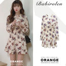 Dress Autumn of 2019 Picture color S,M,L,XL Short skirt singleton  Long sleeves commute V-neck Elastic waist Broken flowers Three buttons Ruffle Skirt shirt sleeve Others 18-24 years old Type A Other / other Korean version Ruffle, fold, print, auricle, stitching, button