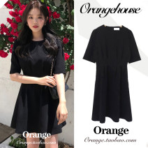 Dress Summer 2020 black S,M,L,XL Short skirt singleton  Short sleeve Sweet Crew neck High waist Solid color zipper A-line skirt other Others 18-24 years old Type A JZW3019 college