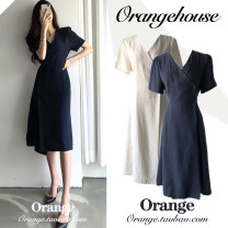Dress Summer 2020 Dark blue, beige S,M,L,XL longuette singleton  Short sleeve commute V-neck High waist Solid color Three buttons One pace skirt other Others 18-24 years old Type A Other / other Korean version Bows, ties, buttons