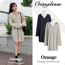 Dress Spring 2020 Apricot, Navy Average size Mid length dress singleton  Long sleeves commute Polo collar Loose waist Solid color Single breasted other shirt sleeve Others 18-24 years old Type A Korean version Button