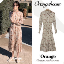 Dress Autumn of 2019 Picture color S,M,L,XL Mid length dress singleton  Long sleeves Sweet stand collar Elastic waist Broken flowers Single breasted A-line skirt other Others 18-24 years old Type A Other / other Fold, ruffle, pleat, print, button, stitching, Auricularia auricula Chiffon college
