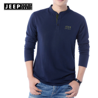 T-shirt Youth fashion thin M,L,XL,2XL,3XL Jeep / Jeep Long sleeves Crew neck easy daily spring Cotton 95% Teflon 5% youth routine Basic public Solid color printing cotton Brand logo No iron treatment International brands More than 95%