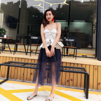skirt Summer 2020 Average size dark blue Mid length dress Sweet Natural waist A-line skirt Type A 25-29 years old P-18IN481 More than 95% cotton Ruili