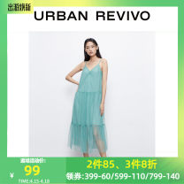 Dress Summer 2021 Matcha green, black L,M,S,2XL,XL,XS Middle-skirt Sleeveless Polo collar middle-waisted bishop sleeve 25-29 years old UR