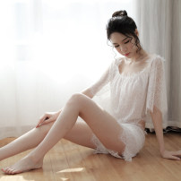 Nightdress Angel of tenderness White, black Average size sexy pajamas Solid color youth Polyester (polyester) More than 95% Lace fabric J-1601 200g and below
