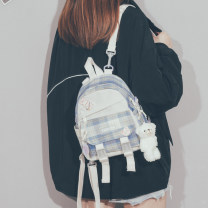 Backpack Nylon  Qingcheng brand new Small zipper leisure time Double root Japan and South Korea soft youth yes Soft handle lattice nothing female No waterproof Vertical square polyester cotton Color contrast yes 8 inches Three dimensional bag