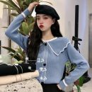 Wool knitwear Autumn of 2019 Average size Blue, black, beige Long sleeves singleton  Socket acrylic fibres 31% (inclusive) - 50% (inclusive) Super short routine Sweet Self cultivation Lotus leaf collar routine Solid color Socket 18-24 years old Other / other college
