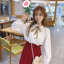 Fashion suit Spring of 2019 Average size White top (single piece), apricot top (single piece), red skirt (single piece), Khaki Skirt (single piece) Other / other