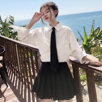 shirt Shirt for tie, pleated skirt S. M, l, average size Spring of 2019 other 31% (inclusive) - 50% (inclusive) Long sleeves Sweet Regular Polo collar Single row multi button routine Solid color 18-24 years old Straight cylinder solar system