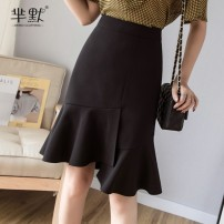 skirt Summer 2020 S,M,L,XL White, black, collect and give gifts Middle-skirt Versatile High waist Irregular Solid color Type A