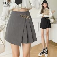 skirt Spring 2021 S,M,L,XL Gray, black, collect and give gifts Short skirt commute High waist Irregular Solid color Type A polyester fiber Asymmetric, zipper Korean version