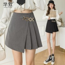 skirt Spring 2021 S,M,L,XL Gray, black, collect and give gifts Short skirt commute High waist Irregular Solid color Type A polyester fiber Asymmetric, zipper Korean version