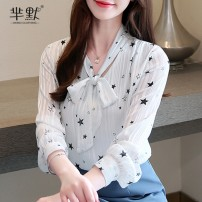 Lace / Chiffon Autumn of 2019 White, black S,M,L,XL,2XL Long sleeves commute Socket singleton  easy Super short V-neck other routine 25-29 years old Bows, prints, buttons Korean version 51% (inclusive) - 70% (inclusive) polyester fiber
