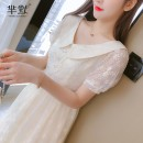 Dress Summer 2020 Apricot, collect and give gifts S,M,L,XL Miniskirt singleton  Short sleeve commute Doll Collar High waist Solid color zipper A-line skirt routine Korean version Splicing 31% (inclusive) - 50% (inclusive) Lace